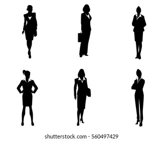 Vector illustration of a six businesswomen silhouette