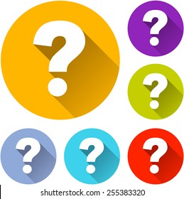 vector illustration of six colorful question icons