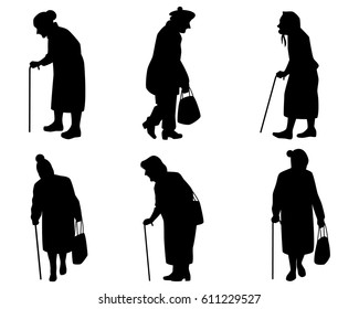 Vector illustration of a six elder women silhouettes