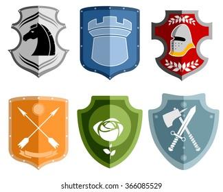 Vector illustration of a six emblems set