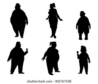 Vector illustration of a six fat people silhouettes