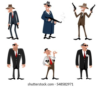 Vector illustration of a six gangsters set