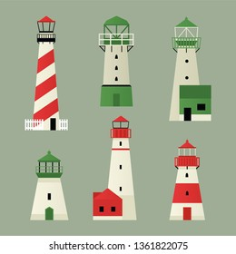 Vector illustration of six lighthouses in white, green and red colors