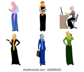 Vector illustration of a six modern muslim girls