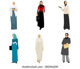 Vector illustration of a six modern muslim women