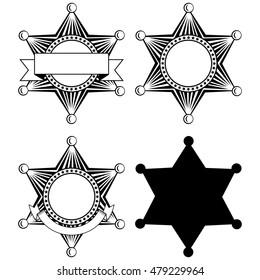 Vector illustration six pointed sheriffs star set