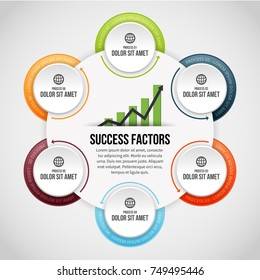 Vector illustration of Six Process Circle Clips Infographic design element.