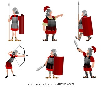 Vector illustration of a six roman warriors