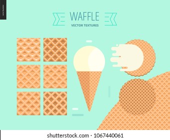 Vector illustration of six seamless waffle patterns and red fruit ice cream scoop in a waffle cone, flat ribbon and two round belgian waffles on mint background