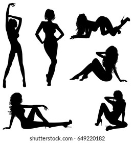 Vector illustration of a six sexy girls