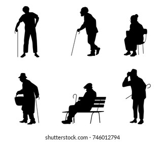 Vector illustration of a six silhouettes of older people