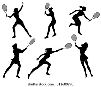 Vector illustration of a six tennis players silhouettes