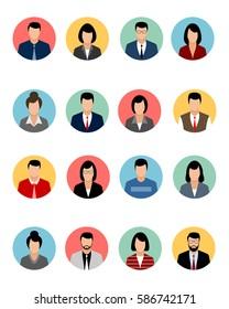 Vector illustration of a sixteen avatars set