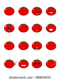 Vector illustration of a sixteen tomatoes emojis