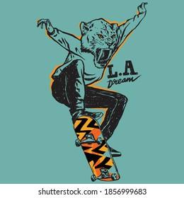 Vector illustration of skateboarding cartoon tiger