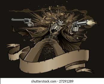 Vector illustration of a skeleton gunslinger wearing a long trench coat while shooting two revolvers from behind a blank western-style banner as an explosion goes off in the background.