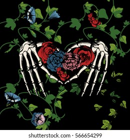 Vector illustration of a skeleton hands making heart, surrounded and covered with plants and flowers on black background. Vintage engraving style