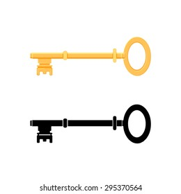 A vector illustration of a skeleton key to open any door. Skeleton Key Icon illustration. Vector vintage key for locking and unlocking doors.