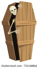 Vector illustration of a skeleton peeking out from inside a standing wooden coffin.