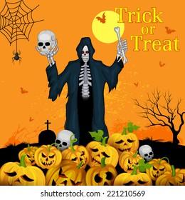 vector illustration of skeleton with pumpkin in Halloween night