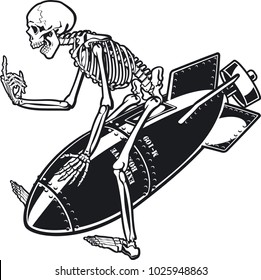 vector illustration of skeleton riding on air bomb