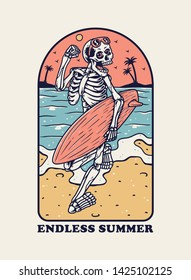 Vector illustration with Skeleton Surfer
