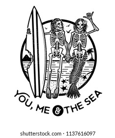 Vector illustration with Skeleton Surfer and Mermaid