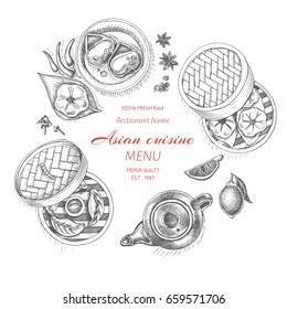 Vector illustration sketch - asian food. Card menu Asian cuisine. vintage design template, banner.