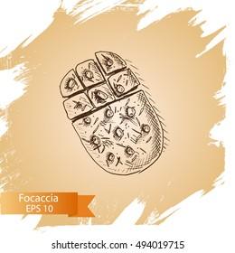 Vector illustration sketch - bakery. Focaccia, bread, ciabatta, loaf, baguette.