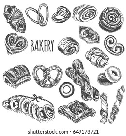 Vector illustration sketch - bread, croissant, buns, puffs. Set bakery house with fresh pastry