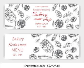 Vector illustration sketch - bread, loaf, baguette, focaccia, pizza. Banner italian bakery house with fresh pastry.