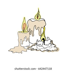Vector illustration of sketch candles