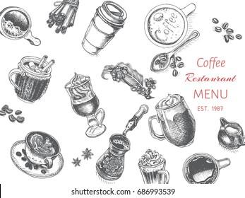 Vector illustration sketch - coffee house. Card Menu cafe. vintage design template, banner.