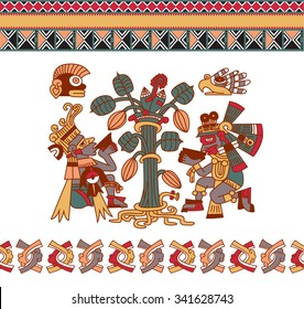 vector illustration sketch drawing aztec pattern cacao tree, mayans, cacao beans, eagle, monkey and decorative borders on white background