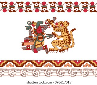 vector illustration sketch drawing aztec pattern with aztec warrior and the jaguar are fighting on white background