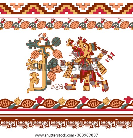 vector illustration sketch drawing aztec pattern cacao tree, mayan warrior with tomahawk, cacao beans and decorative borders yellow, red, green, brown, grey colors on white background