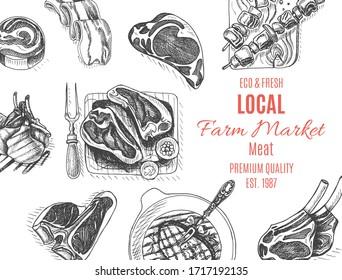 Vector illustration sketch - farm market. Card local meat shop. vintage design template, banner.