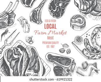 Vector illustration sketch - farm market Card local meat shop. vintage design template, banner.