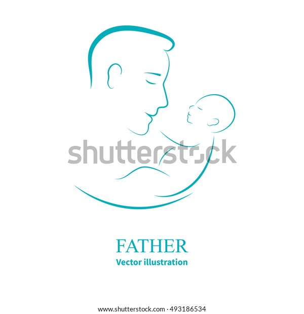 Vector illustration sketch father with a small baby. Logo dad and newborn baby on an isolated white background. Doodle hand-drawn line drawing. Man holding infant. Side view of the profile.