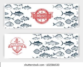Vector illustration sketch - fish market Card menu seafood. vintage design template, banner.