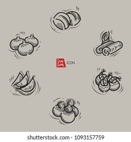 Vector illustration sketch. Hand drawn Dim Sum icon set. Included Bun, Shrimp dumpling, Steamed bread, Spring rolls and  Dumpling.