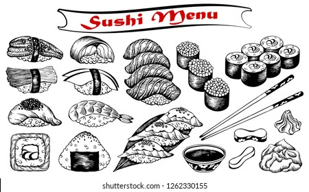 Vector illustration of sketch hand drawn set of sushi menu. Japanese, Chinese, Korean, asian food. Wasabi, ginger, soy sauce, onigiri, rice, fish, salmon, eel, avocado, caviar, roll, shrimp, sashimi.