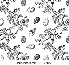 Vector illustration of sketch hand drawn pattern with black and white branches almond nuts, tree. Vintage,organic, vegan, food background. Floral botanical plants drawing wallpaper.Line Art, engraving