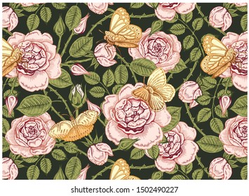 Vector illustration of sketch hand-drawn pattern in vintage style with blossom flowers and butterflies. Line art floral botanical wallpaper with pink roses, green leaves, peonies, gold butterfly.