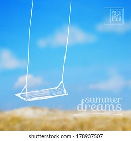 vector illustration. Sketch on summer holiday on the background images. swing and sky