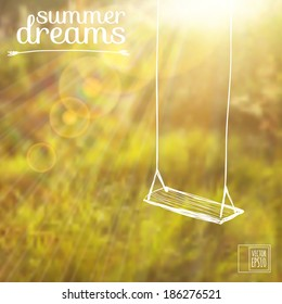 vector illustration. Sketch on summer dreams on the background images.swing on a background of grass and sun glare