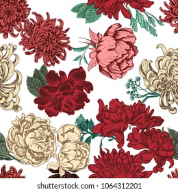 Vector illustration sketch - pattern with flowers chrysanthemum, peony. Colorful flowers illustration.