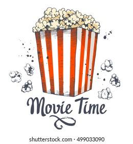 Vector illustration with sketch popcorn bucket. Sketch design. Cinema snack. Hand drawn fast food. Movie Time poster.