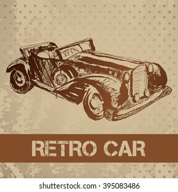 Vector illustration with sketch retro car on textured grange background