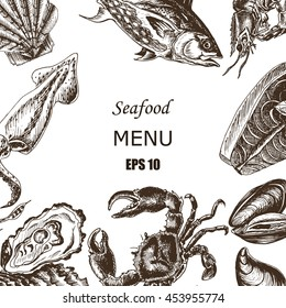 Vector illustration sketch - Sea collection. Seafood - squid, sea scallop, salmon, mussels, tuna, crab, shrimp, oyster.